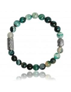Bracelet Agate Verte et Bouddha