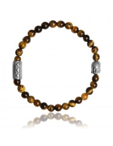 Bracelet 6 mm Oeil de Tigre et Bouddha