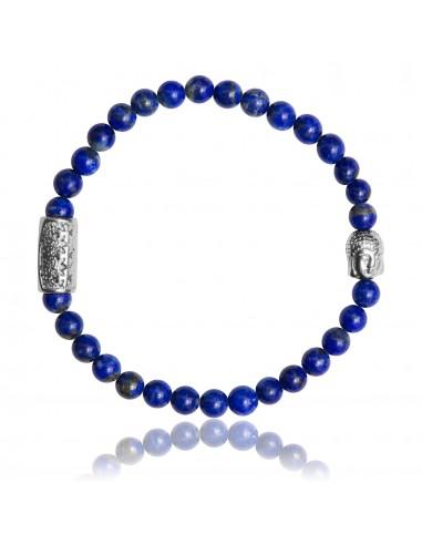 Bracelet 6 mm Lapis Lazuli et Bouddha