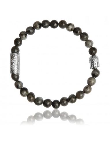 Bracelet 6 mm Larvikite Grise et Bouddha