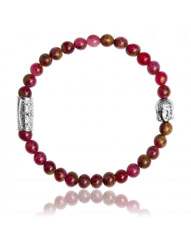 Bracelet 6 mm Jaspe Rouge et Bouddha