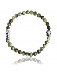 Bracelet 6 mm Turquoise Africaine et Bouddha