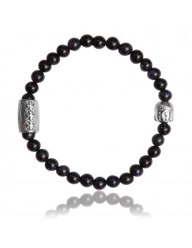 Bracelet 6 mm Pierre de Sable Bleu et Bouddha