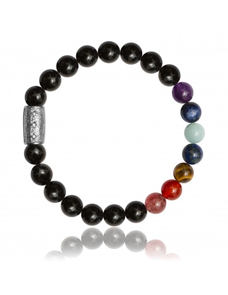 Bracelet 7 Chakras Agate Noire