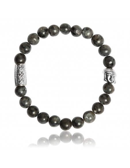 Bracelet Larvikite Grise et Bouddha