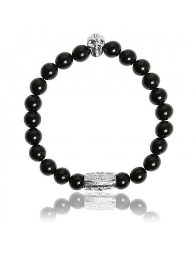 Bracelet Agate Noire et Skull