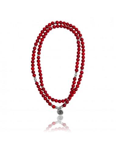 Bracelet multi-tours / collier Mary Steven jaspe de mer rouge
