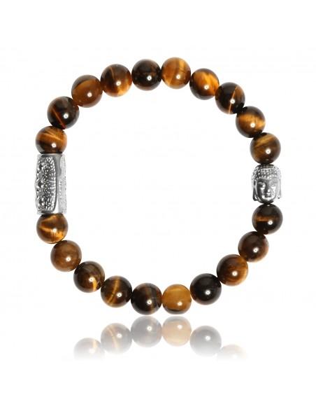 Bracelet Oeil de Tigre et Bouddha