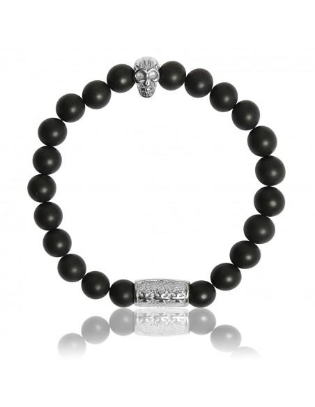 Bracelet Onyx Noir Mat et Skull