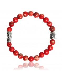 Bracelet Jaspe de Mer Rouge et Bouddha