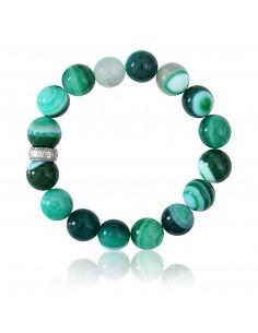 Bracelet Pierres 12 mm Agate Verte