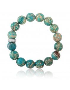 Bracelet Pierres 12 mm Jaspe de mer turquoise