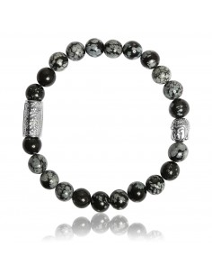 Bracelet Obsidienne Flocon de Neige et Bouddha